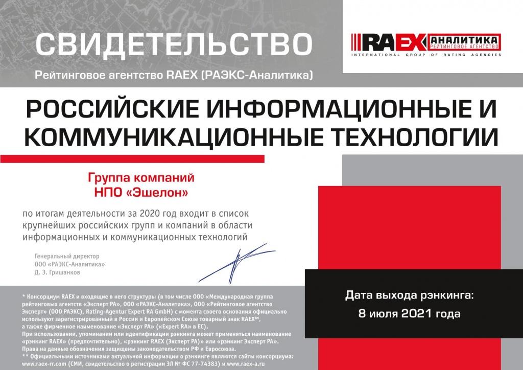 """Свидетельство об участии НПО """"Эшелон"""" в рейтинге РАЭКС"""